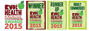 The Rude Health Awards winners, runner-up and highly commended logos